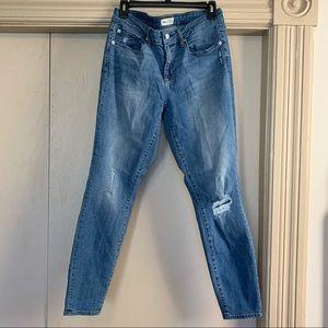 Gap Curvy True Skinny Distressed Mid Rise Jeans